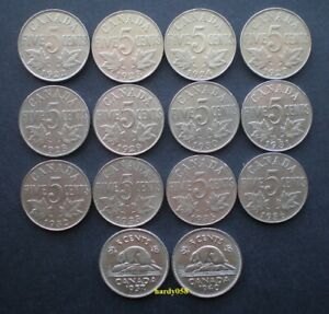 1922   1940 CANADA 5 CENTS NICKEL COINS  GEORGE V & GVI  14 DIFFERENT DATES