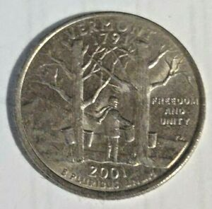 2001 VERMONT   D   STATE QUARTER BRILLIANT UNCIRCULATED  ATB COINS