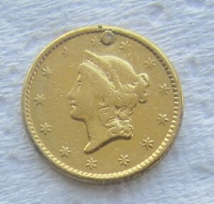 1850 TYPE 1 LIBERTY HEAD $1 GOLD EX   JEWELRY PLUGGED FILLER