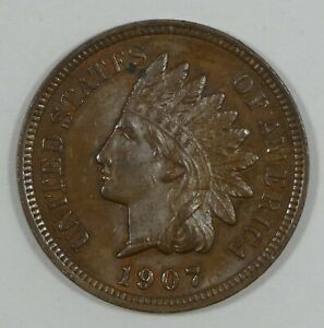 1907 INDIAN HEAD/OAK WREATH REV CENT BROWN UNC 1 CENT