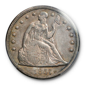 1857 $1 SEATED LIBERTY DOLLAR PCGS XF 45 EXTRA FINE TO AU KEY DATE TOUGH COIN