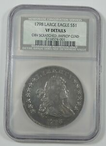 NGC GENUINE 1798 DRAPED BUST SILVER $ HERALDIC EAGLE REV LARGE EAGLE VF DETAILS