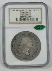 1795 FLOWING HAIR TWO LEAVES SILVER DOLLAR CERTIFIED CAC & NGC VF 35 BB 21