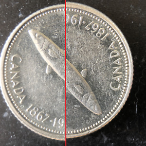 1967 CANADA SILVER 10 CENT DIME OFF CENTERED DIE STRIKE ERROR COIN