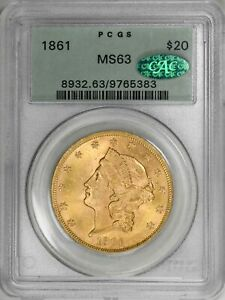 1861 LIBERTY HEAD $20 PCGS CAC MS63 TYPE 1 NO MOTTO GOLD  COIN OGH  COIN