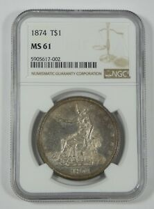 1874 TRADE DOLLAR CERTIFIED NGC MS 61 SILVER DOLLAR   DMPL OBVERSE