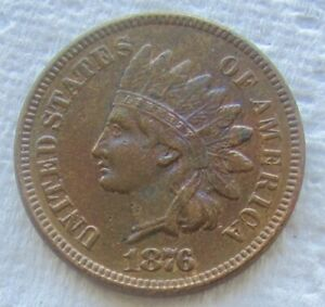 1876 INDIAN HEAD CENT  KEY DATE XF / AU CLEANED