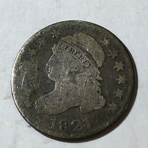1821 CAPPED BUST US SILVER DIME. AG G. UK1