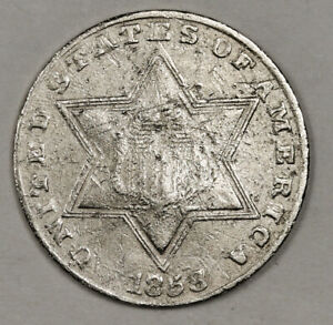 1858 3 CENT SILVER.  VF DETAIL.  152656