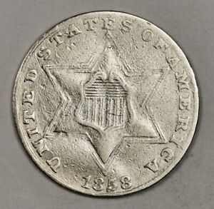 1858 3 CENT SILVER.  VF DETAIL.  152659
