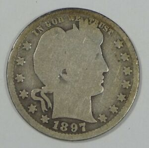 1897 O BARBER QUARTER GOOD SILVER 25 CENTS