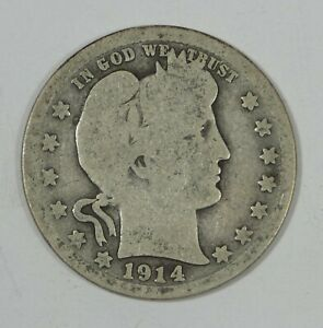 1914 S BARBER QUARTER GOOD/AG SILVER 25 CENTS
