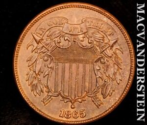 1865 TWO CENTS REVERSE CUD PLAIN 5 BRILLIANT UNCIRCULATED LUSTER U7459