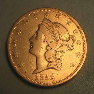 1852 GOLD $20 LIBERTY DOUBLE EAGLE COIN TY I TYPE 1 REAL PIECE OF HISTORY