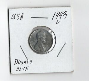 USA 1943D 1 CENT STEEL PENNY  LINCOLN WHEAT  US WWII DOUBLE DATE FINE