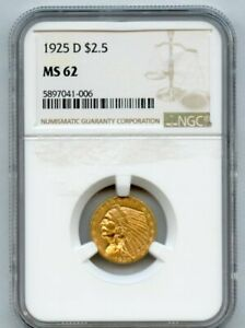1925 D GOLD $2.5 INDIAN HEAD NGC MS 62