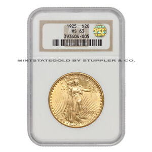 1925 $20 SAINT GAUDENS NGC MS63 CHOICE GOLD DOUBLE EAGLE COIN PQ APPROVED