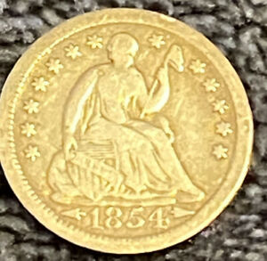 HIGH DETAIL 1854 SEATED LIBERTY HALF DIME COIN OLD 90  SILVER