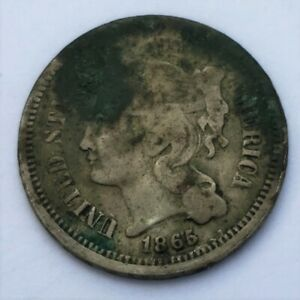 1865 U.S. THREE CENT NICKEL KM 95
