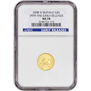 2008 W AMERICAN GOLD BUFFALO  1/10 OZ  $5   NGC MS70   EARLY RELEASES BURNISHED