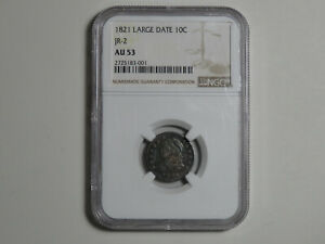 Click now to see the BUY IT NOW Price! 1821 CAPPED BUST DIME   JR 2 LARGE DATE VARIETY   NGC AU53