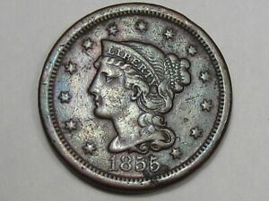 1855 US BRAIDED HAIR LARGE CENT COIN  UPRIGHT