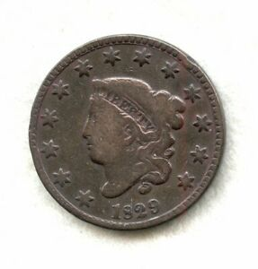 1829   CORONET HEAD   LARGE CENT   F