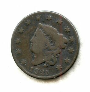 1825   CORONET HEAD   LARGE CENT   F