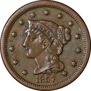1857 LARGE CENT 'SMALL DATE' CHOICE XF  SUPERB EYE APPEAL STRONG STRIKE