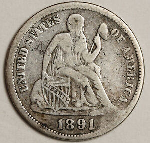 1891 LIBERTY SEATED DIME.  ERROR.  CUD OBVERSE @ 5:00.  153482