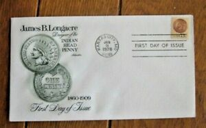 INDIAN HEAD PENNY DESIGNED BY JAMES LONGACRE ARTMASTER CACHET FDC 1978 UNADDR