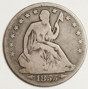 1855 SEATED LIBERTY HALF.  VG.  153615