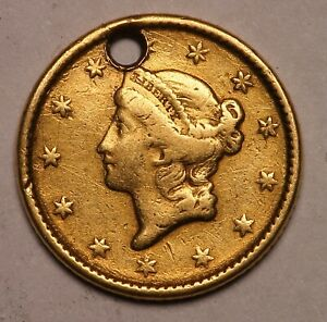 GENUINE GOLD RUSH ERA 1851 T1 US GOLD $1 ONE COIN PIECE