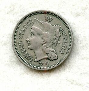 1868   THREE CENT NICKEL   CH XF