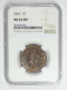 1831 CORONET HEAD LARGE LETTERS LARGE CENT CERTIFIED NGC MS 62 BROWN 1C