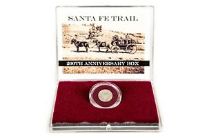 SANTA FEE TRAIL 200TH ANNIV BOXED SET WITH STORY AND SILVER HALF REALES COIN.