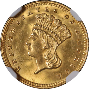 Click now to see the BUY IT NOW Price! 1862 TYPE 3 INDIAN PRINCESS GOLD $1 CIVIL WAR DATE NGC MS64 CAC STICKER