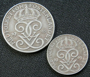 SWEDEN 2 VINTAGE CIRCULATED COINS 2 ORE 1949 5 ORE 1945 WORLD FOREIGN