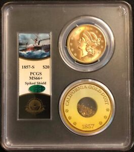Click now to see the BUY IT NOW Price! 1857 S $20 LIBERTY DOUBLE EAGLE PCGS MS66   CAC  S.S. CENTRAL AMERICA W/PINCH