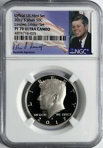 2017 S PROOF SILVER KENNEDY HALF NGC PF70 LIMITED EDITION SET NEW SIGNATURE FLAG