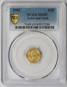 1905 LEWIS AND CLARK GOLD COMMEMORATIVE $1 MS 65 PCGS SECURE SHIELD NFC CHIP