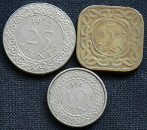 SURINAME 3 DIFF TYPE  CIRCULATED SOUTH AMERICAN COINS WORLD FOREIGN