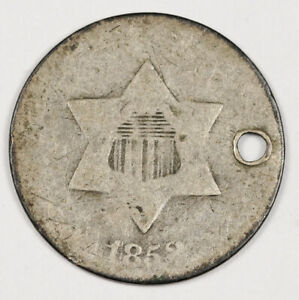 1853 3 CENT SILVER.  HOLED.  155854