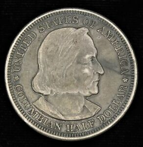 1893 WORLD'S COLOMBIAN EXPOSITION COMMEMORATIVE HALF DOLLAR 90  SILVER 50C COIN