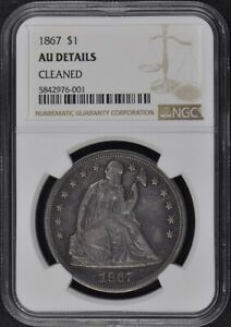 1867 SEATED LIBERTY   MOTTO S$1 NGC AU DETAILS