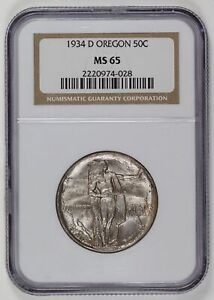 1934 D OREGON TRAIL HALF DOLLAR NGC MS 65