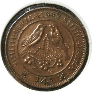 ELF SOUTH AFRICA FARTHING 1/4 PENNY 1943  BIRD  WORLD WAR II  GEORGE VI