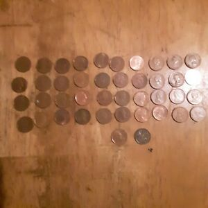 LOT OF 42 CANADIAN CENTS PENNIES VARIOUS DATES UNGRADED