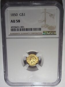 1850 GOLD LIBERTY HEAD $1 PCGS AU58 TYPE ONE DOLLAR COIN CORONET  DATE