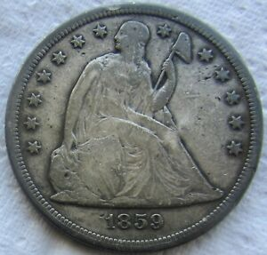 1859 S SEATED LIBERTY SILVER DOLLAR  KEY DATE VG / FINE DETAIL